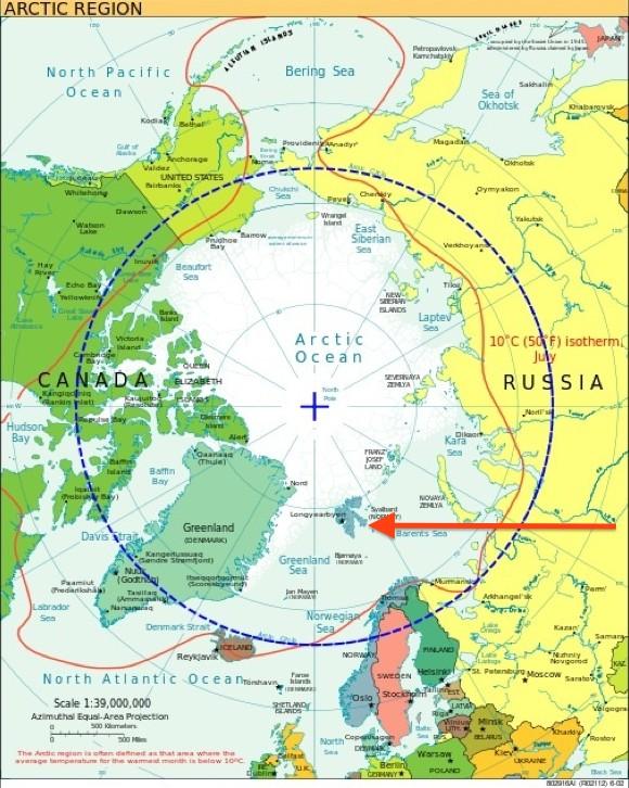 Położenie Svalbardu na mapie rejonu arktycznego